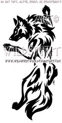 Yin Yang Set Climbing Tribal Wolf Design