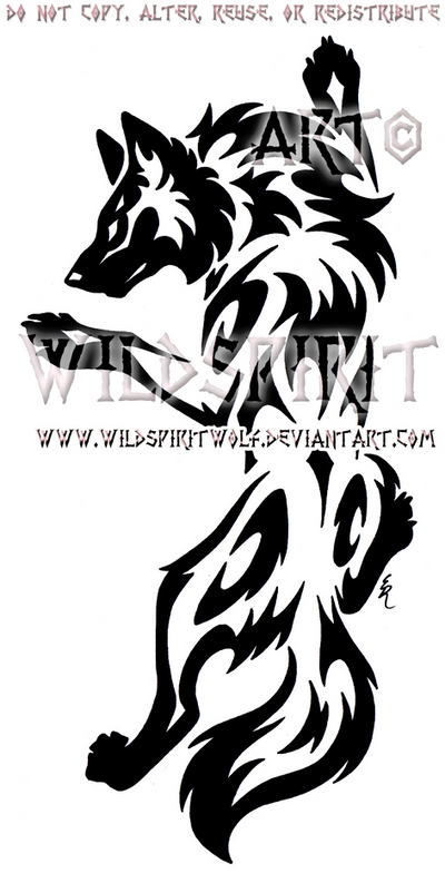 Yin Yang Set Climbing Tribal Wolf Design by WildSpiritWolf