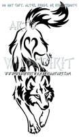 Yin Yang Set Descending Tribal Wolf Design