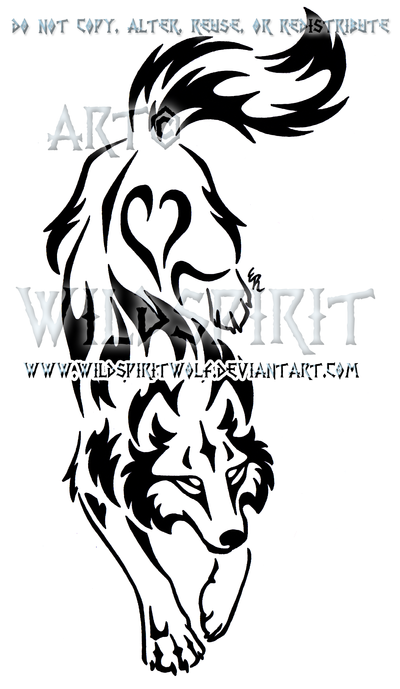 Yin Yang Set Descending Tribal Wolf Design by WildSpiritWolf