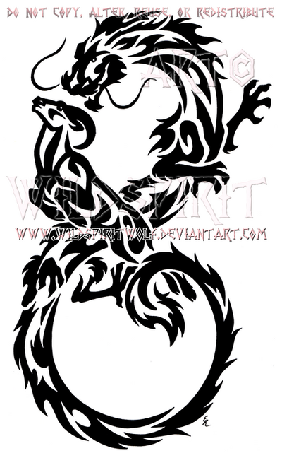 Infinity dragon and ram tribal design by wildspiritwolf on for Dragon and wolf tattoo