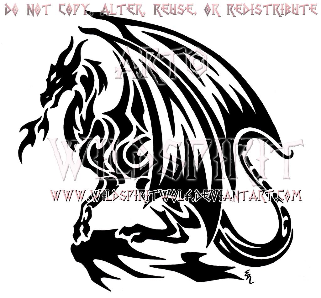 Cliffside Dragon Tribal Design by WildSpiritWolf