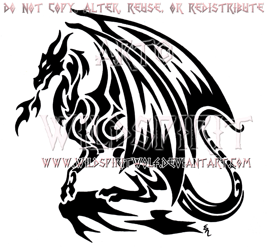 Cliffside dragon tribal design by wildspiritwolf on deviantart for Dragon and wolf tattoo
