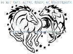 Horse And Wolf Starry Heart Design