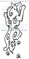 Climbing Wolf And Ferret Paw Prints Design