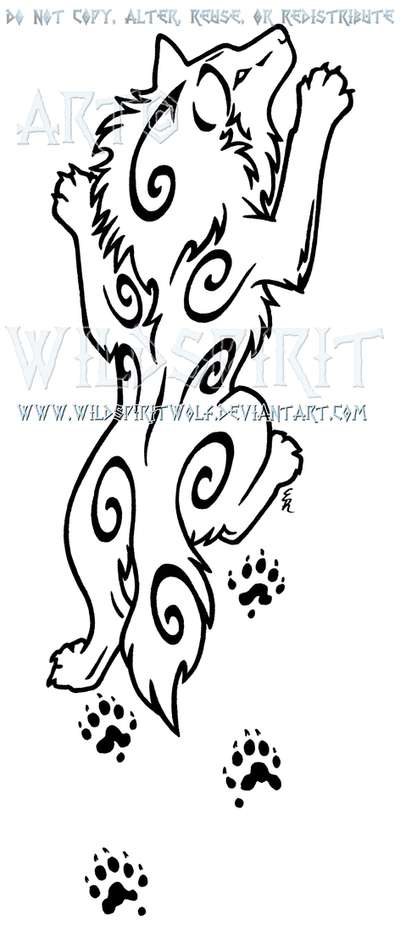 Climbing Wolf And Ferret Paw Prints Design by WildSpiritWolf