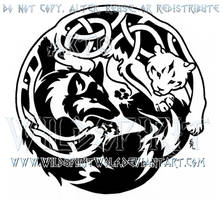 Tribal Wolf And Knotwork Snow Leopard Design by WildSpiritWolf
