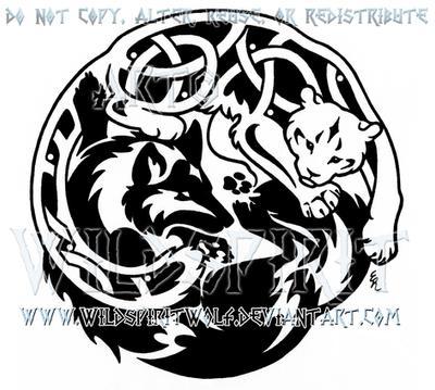 Tribal Wolf And Knotwork Snow Leopard Design by WildSpiritWolf