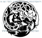 Tribal Wolf And Knotwork Snow Leopard Design