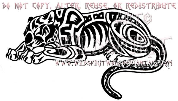 Aztec Sleeping Jaguar Design by WildSpiritWolf