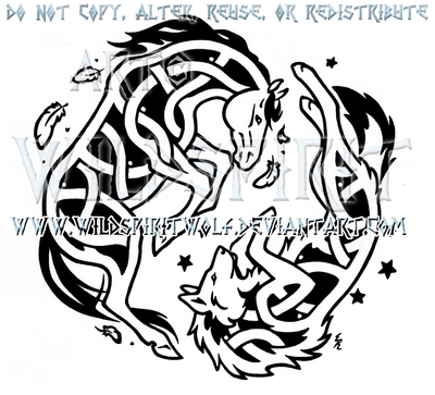 Yin Yang Knotwork Horse And Wolf by WildSpiritWolf