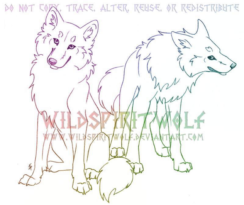 Wolf Pair Sketch Commission by WildSpiritWolf