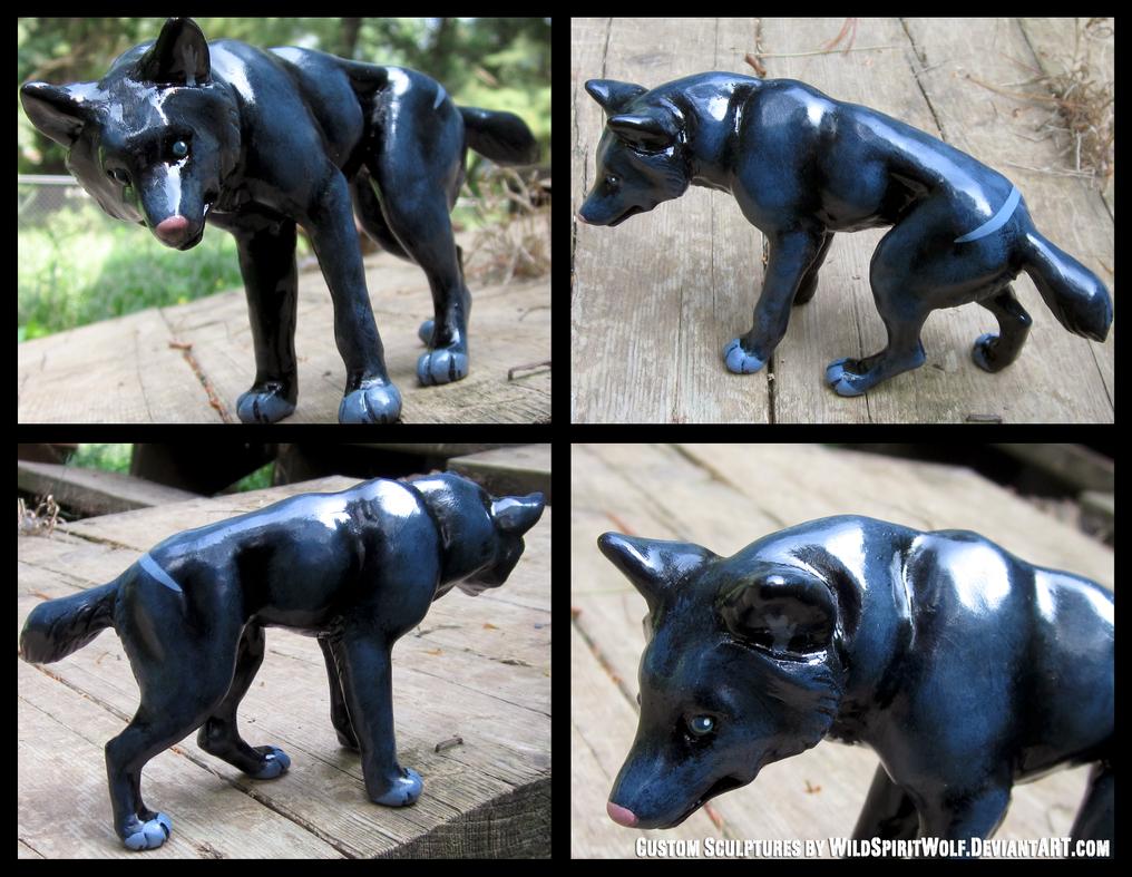 Dark Wolf Tekla Sculpture by WildSpiritWolf
