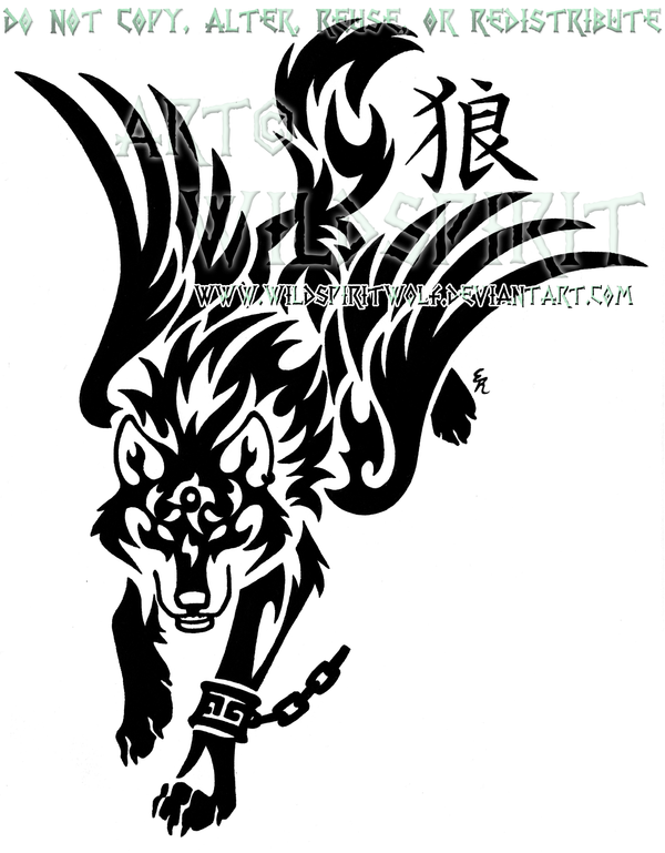 Wolf Link And Kanji Tribal Design by WildSpiritWolf