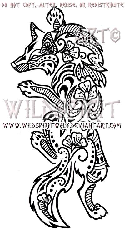 Climbing Henna Wolf Design by WildSpiritWolf