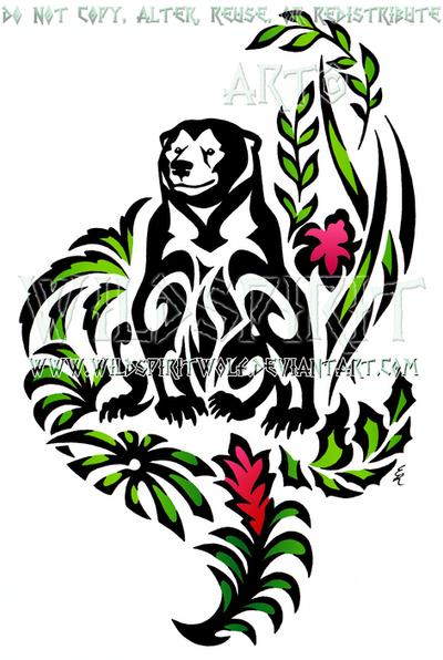 Seated Sun Bear Tribal Design by WildSpiritWolf