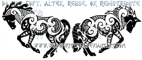 Maori Horse And Wolf Design by WildSpiritWolf