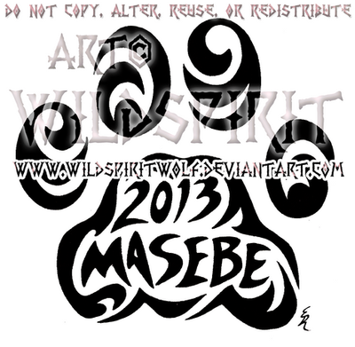 Masebe Tribal Lion Paw Print Design by WildSpiritWolf