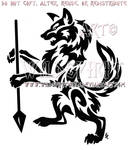 Rampant Wolf With Spear Tribal Design