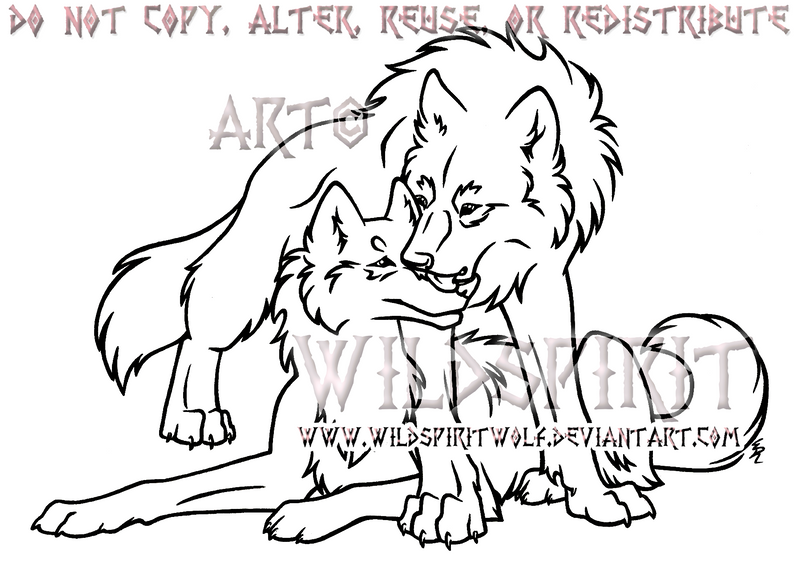 Wolf Lovers Lineart Commission by WildSpiritWolf