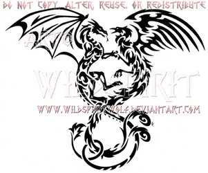 Entwined Dragon And Phoenix Tribal Design by WildSpiritWolf