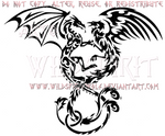 Entwined Dragon And Phoenix Tribal Design