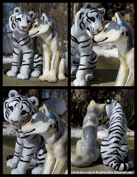 White Tiger And Wolf Wedding Topper Set