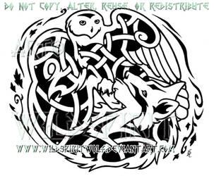 27cee9d044a54 WildSpiritWolf 1,397 73 Snowy Owl And Wolf Knotwork Design by WildSpiritWolf