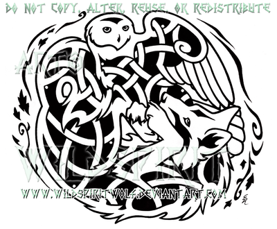 Snowy Owl And Wolf Knotwork Design by WildSpiritWolf