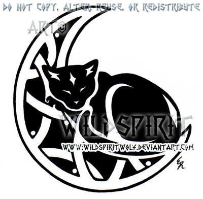 sleeping cat and knotwork moon design by wildspiritwolf on deviantart. Black Bedroom Furniture Sets. Home Design Ideas