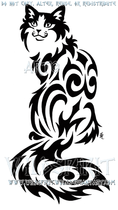 Sitting Tribal Cat Design by WildSpiritWolf