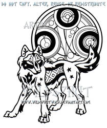 91a6ccd8673d4 WildSpiritWolf 464 5 Starry Gallifreyan Wolf Design by WildSpiritWolf