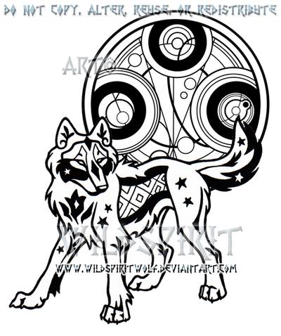 Starry Gallifreyan Wolf Design by WildSpiritWolf