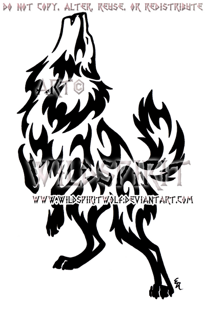 Tribal Standing Flame Wolf Design by WildSpiritWolf