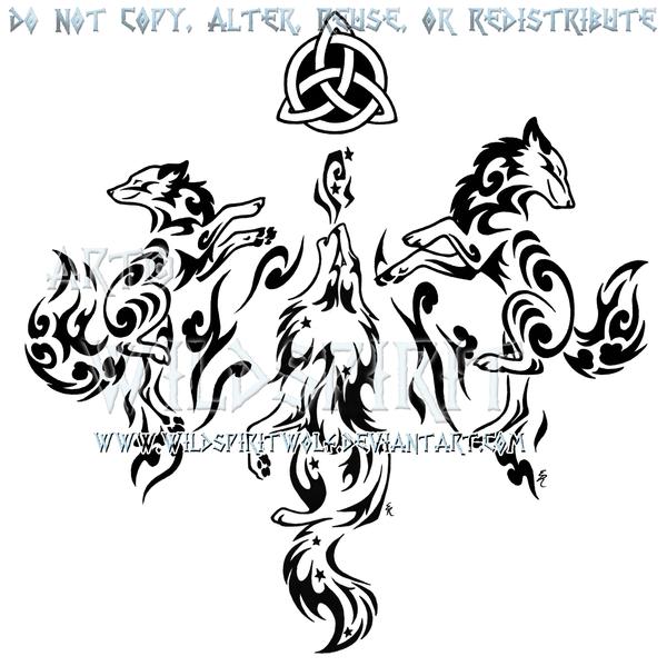 Tribal Elemental Three Canine Design by WildSpiritWolf