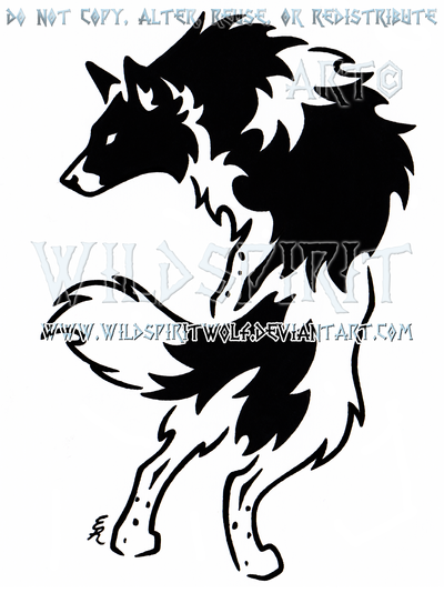 Jasper Border Collie Tribal Design by WildSpiritWolf