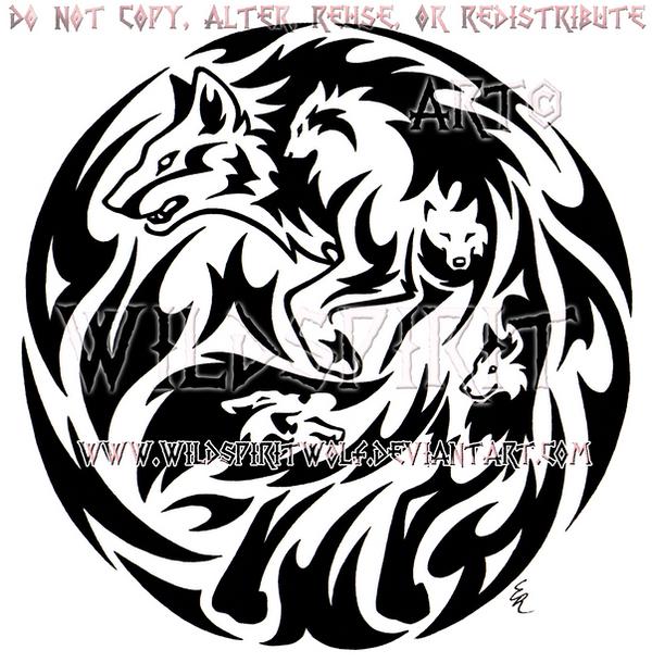 Emotion Wolf Flame Medallion Design