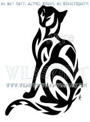 Tribal Short-Haired Cat Design by WildSpiritWolf