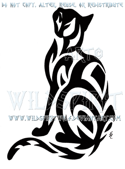 tribal short haired cat design by wildspiritwolf on deviantart. Black Bedroom Furniture Sets. Home Design Ideas
