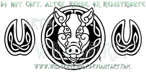 Celtic Boar's Head And Hooves Design