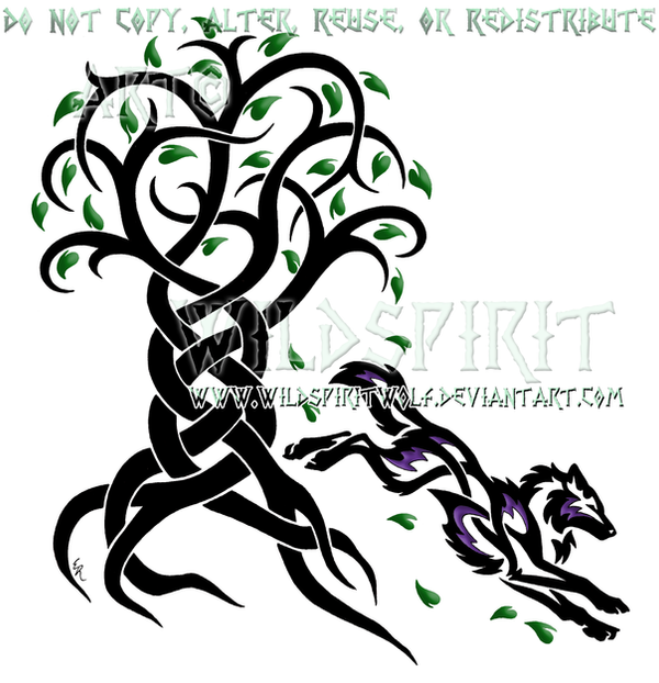 Knotwork Tree Of Life And Wolf Design by WildSpiritWolf