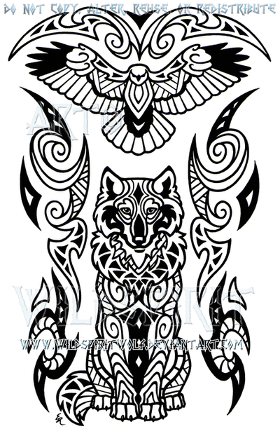 Maori Animal Tattoo Designs: Wise Wolf And Hawk Maori Design By WildSpiritWolf On