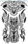 Wise Wolf And Hawk Maori Design