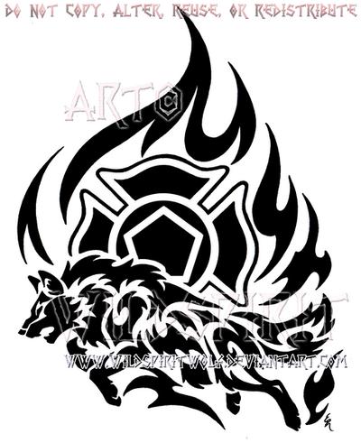 Firefighter Tribal Flame Wolf Design by WildSpiritWolf
