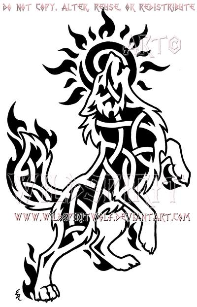 Howling Sun Wolf Knotwork Design by WildSpiritWolf