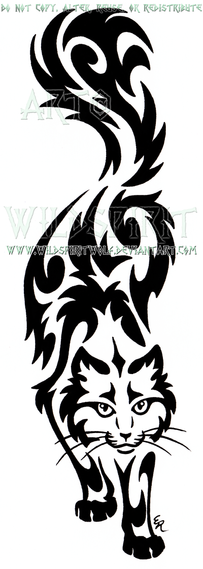 Prowling Sherlock Cat Tribal Design by WildSpiritWolf