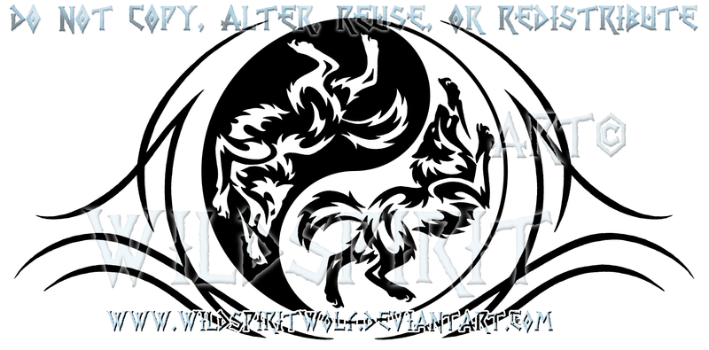 Playful Yin Yang Wolves Design by WildSpiritWolf