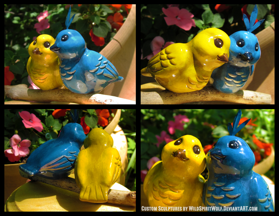Blue And Yellow Bird Pair - Wedding Topper by WildSpiritWolf