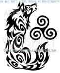 Howling Triskele Wolf Tribal Design