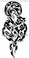 Wolf And Fox + Full Moon Tribal Design
